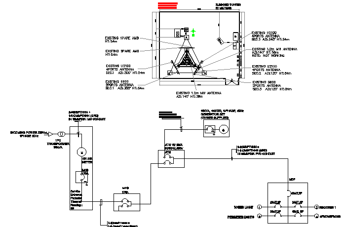 Electric tower cabin and single line diagram details dwg file