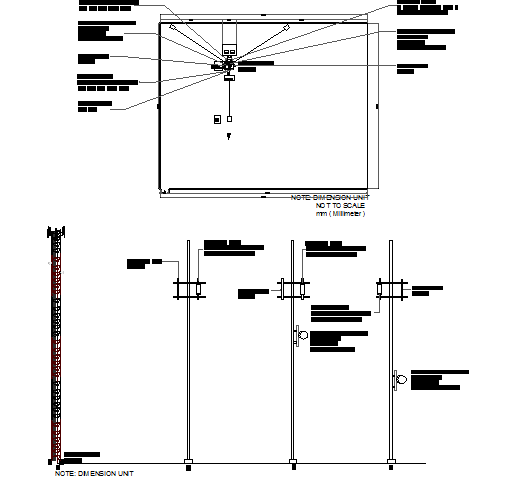 Electric tower cabin details with leg installation dwg file