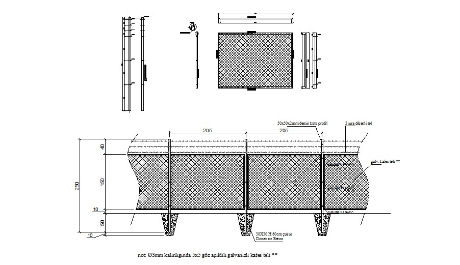 Electrical fence elevation and auto-cad details dwg file