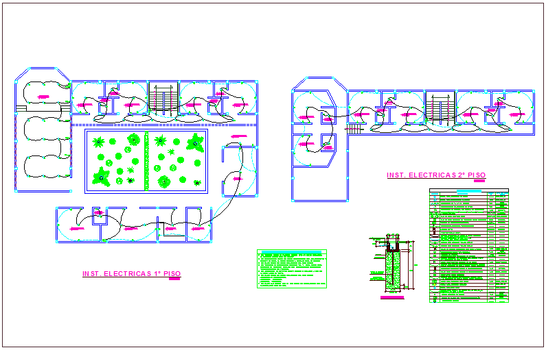 Electrical installation floor plan of community center dwg file