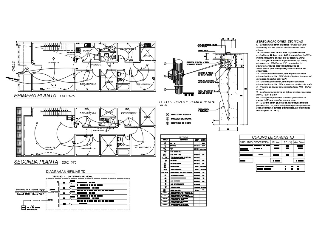 Electrical installation layout plan details of two story house dwg file