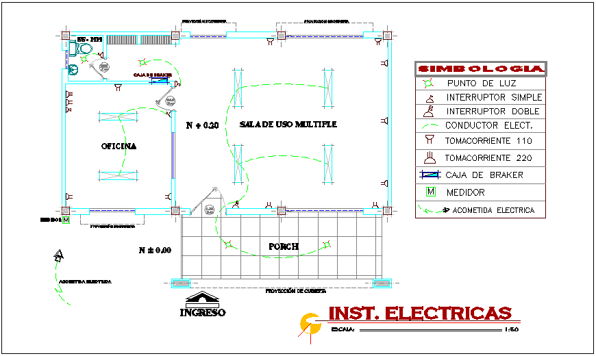 Electrical installation view of communication office building dwg file