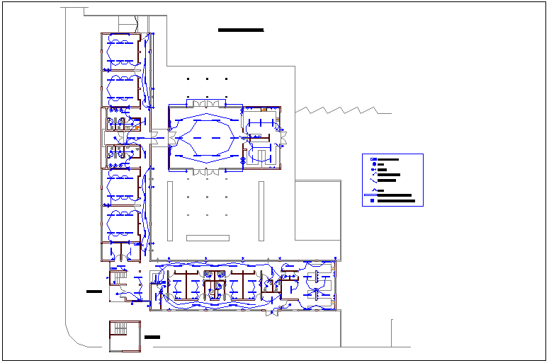 Electrical installation view with its legend of cultural center dwg file