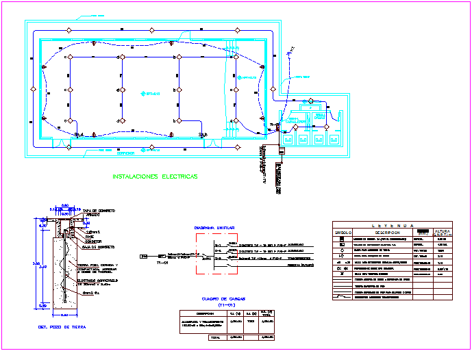 Electrical installation view with its legend of multiple use hall dwg file