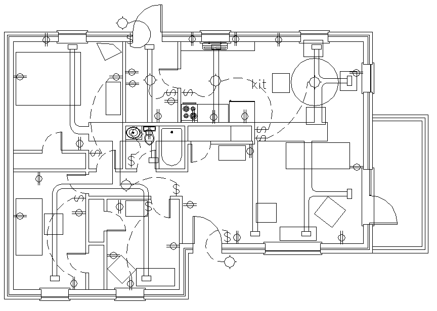 electrical house plan layout electrical layout plan house cadbull  electrical layout plan house cadbull
