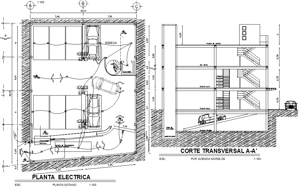 Electrical layout plan of car parking area