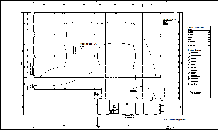 Electrical plan of ware house with electrical legend dwg file