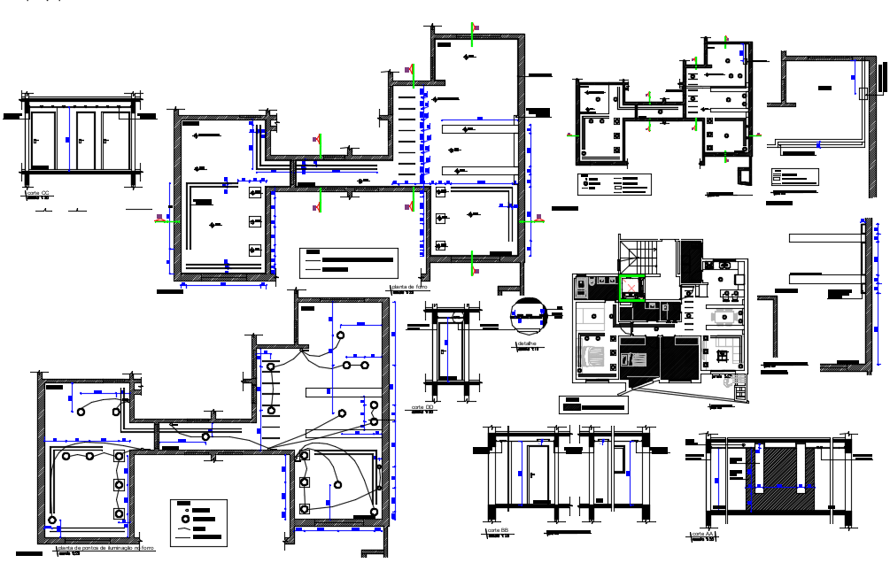 Electrical point view with floor plan and elevation of ceiling area dwg file