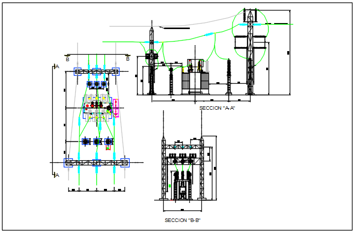 Electrical tower detail plan and section detail dwg file