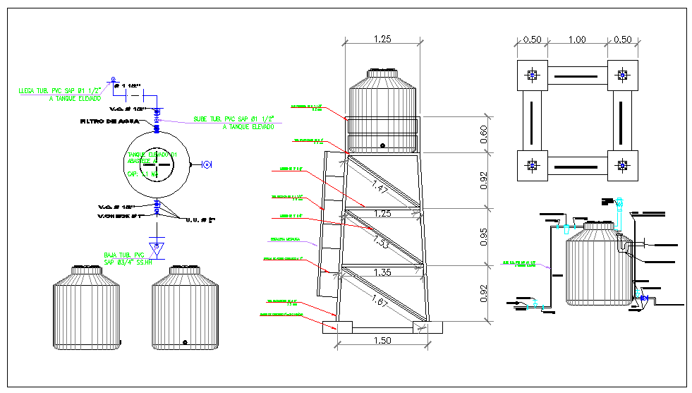Elevated water tank detail water structure view dwg file
