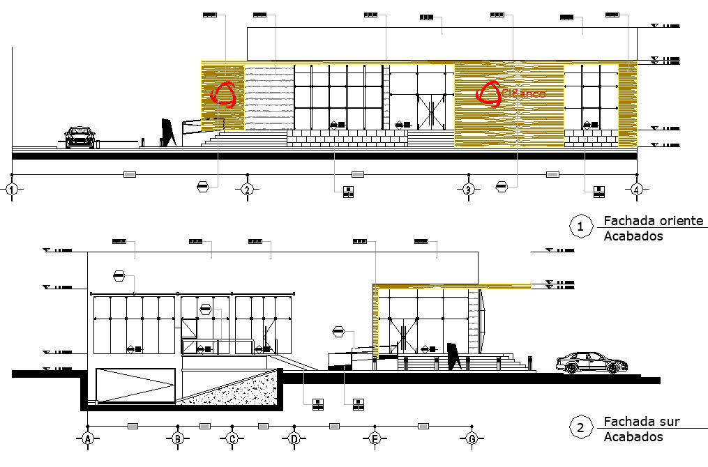Elevation Business center detail dwg file