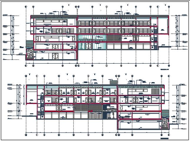 Elevation Center line plan detail dwg file