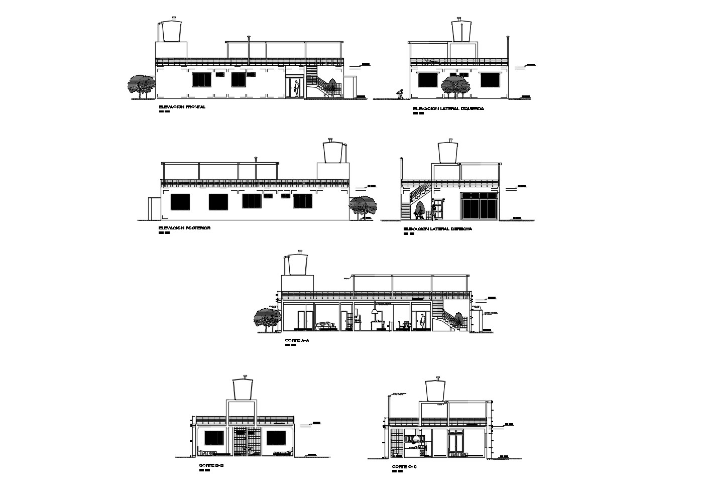 Elevation Drawing of the house with detail dimension in dwg file