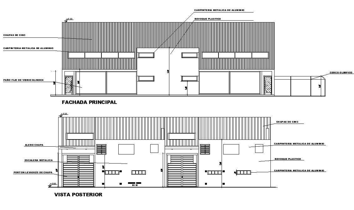 Elevation Factory plan detail dwg file