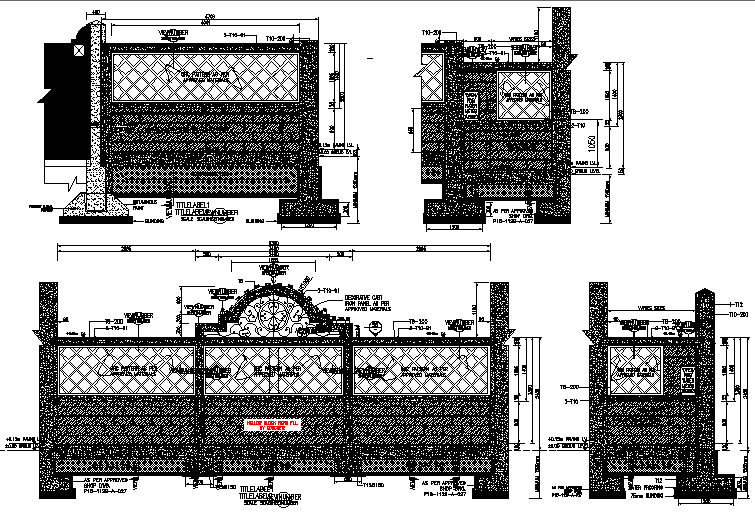 Elevation Front boundary wall details dwg file