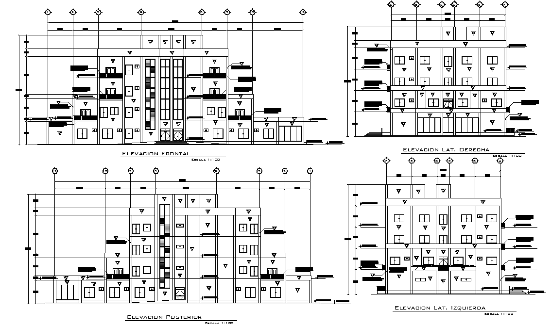 Elevation Mall and apartments detail dwg file