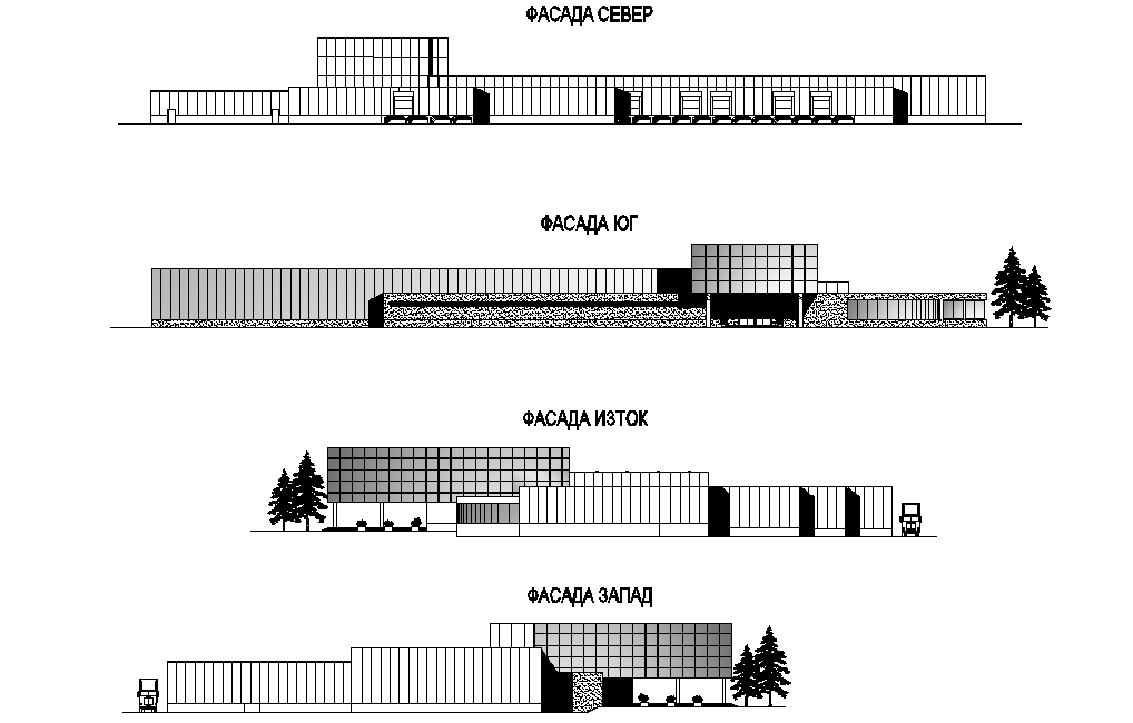 Elevation Multi functional factory plan detail