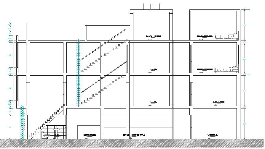Elevation Plan of Multi Flooring House dwg file