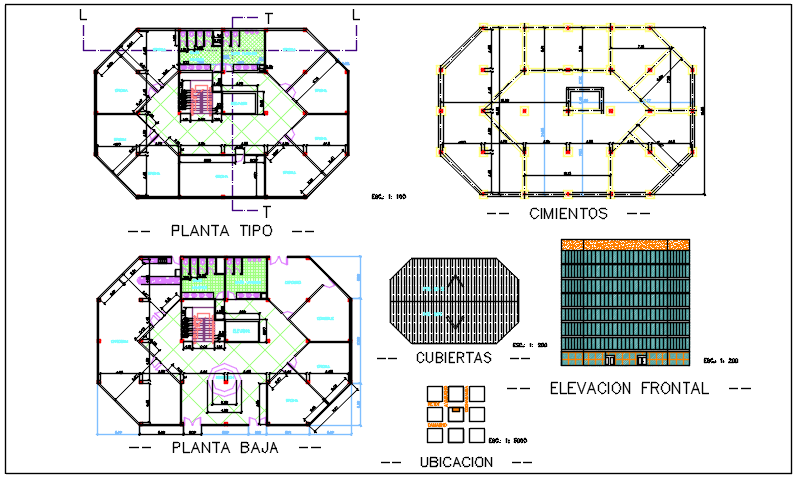 Elevation and Center line plan detail dwg file