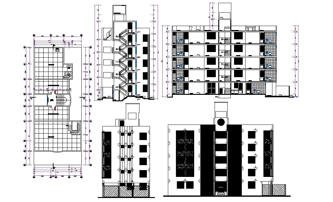 Elevation and Section Design of Apartment