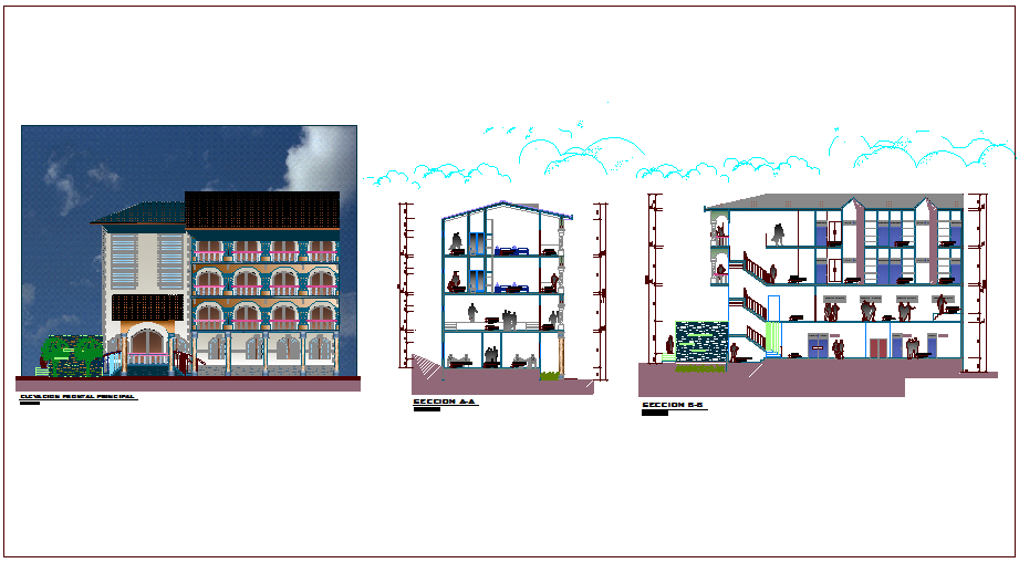 Elevation and different axis section view for civic center dwg file