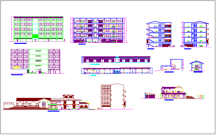 Elevation and different axis section view for university  building dwg file