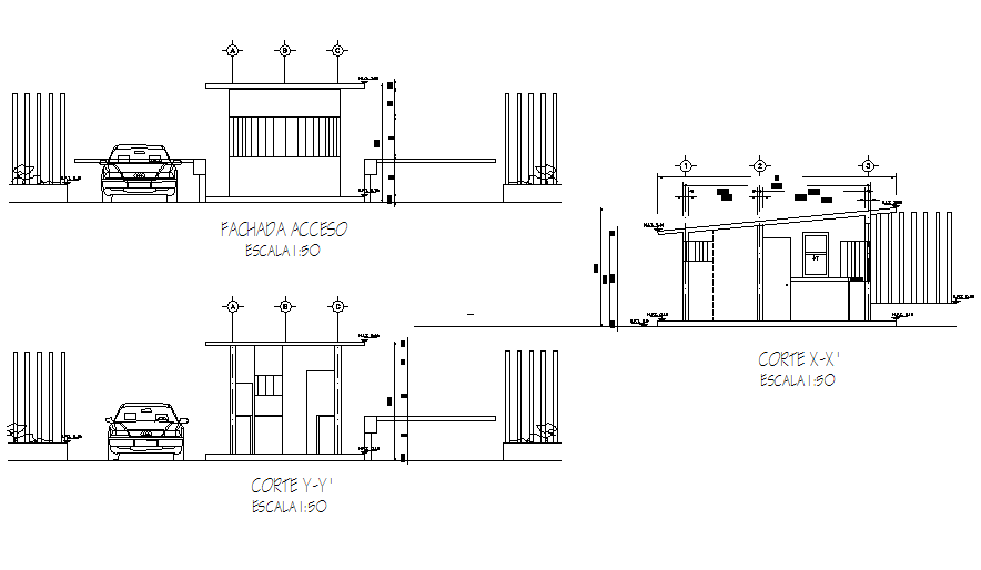 Elevation and section Guard  house  plan  detail dwg file