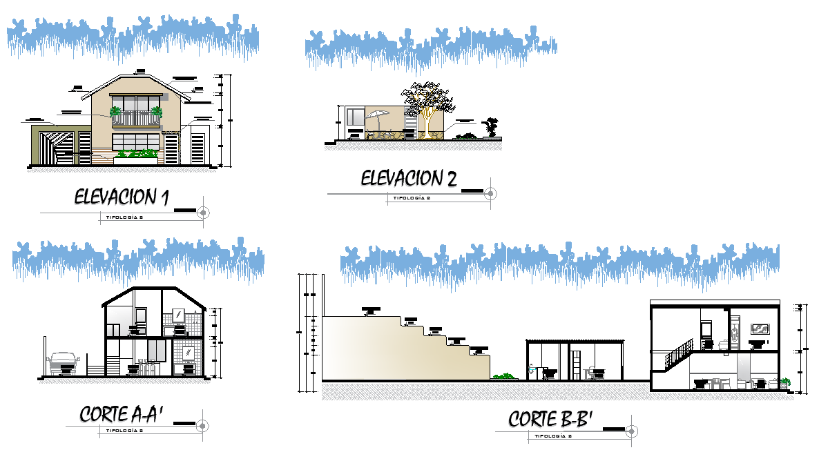Elevation and section house with or chard detail layout file