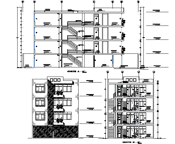 Elevation and section multi family plan detail dwg file