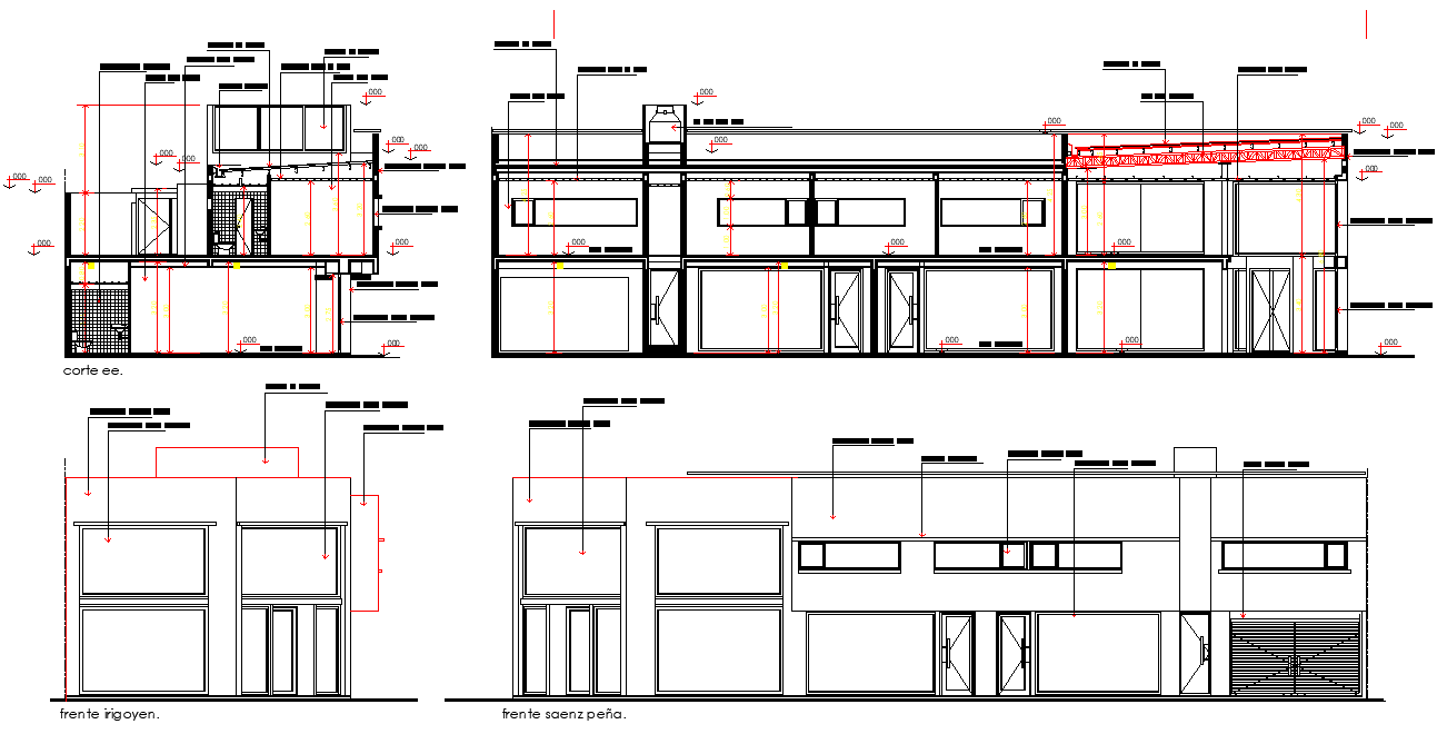 Elevation and section office plan detail