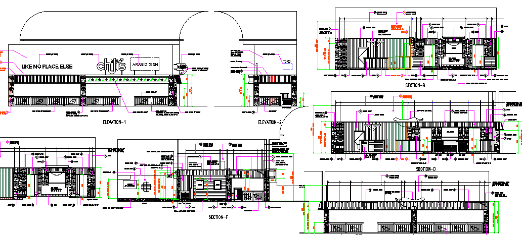 Elevation and section plan of restaurant with bar dwg file