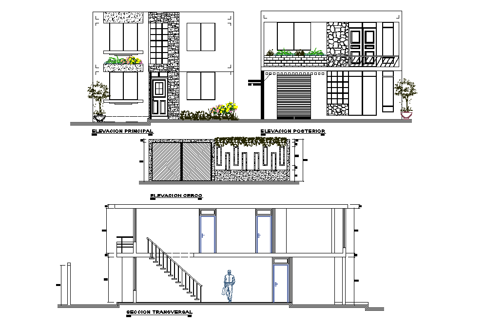 Elevation and section single family house detail dwg file