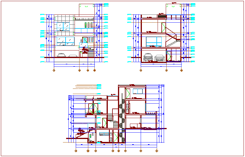 Elevation and section view of house  dwg file