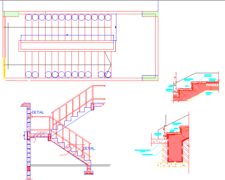 Elevation and sectional detail of staircase