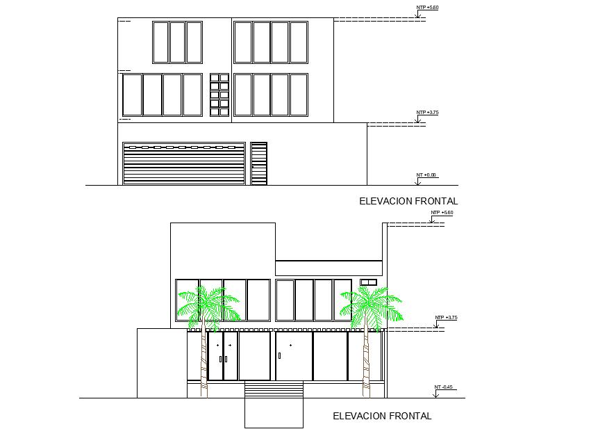 Elevation beach house 3 floors plan layout file