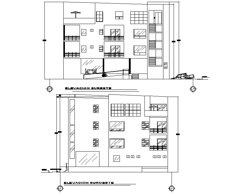 Elevation departments house autocad file