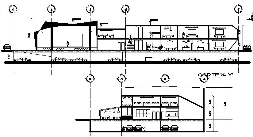 Elevation design of a cafe dwg file