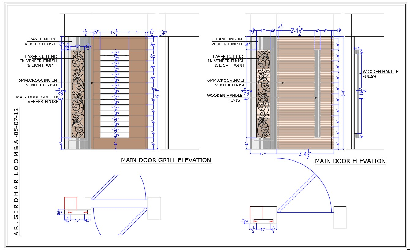 Elevation view drawing in DWG file