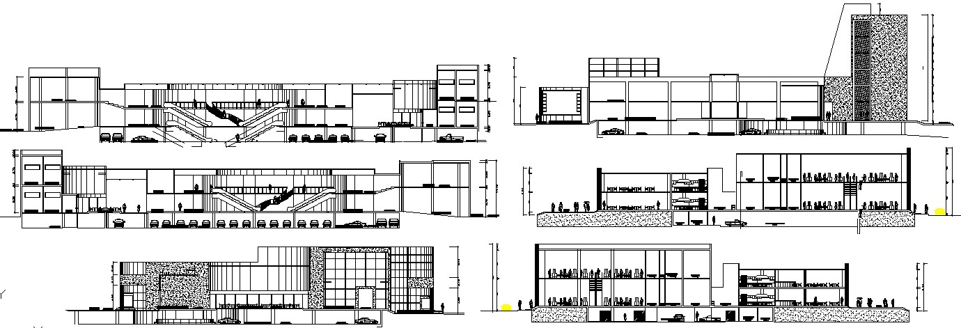 Elevation design of shopping center in dwg file