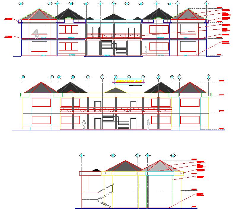 Elevation detail of Hexagonal shape building dwg file