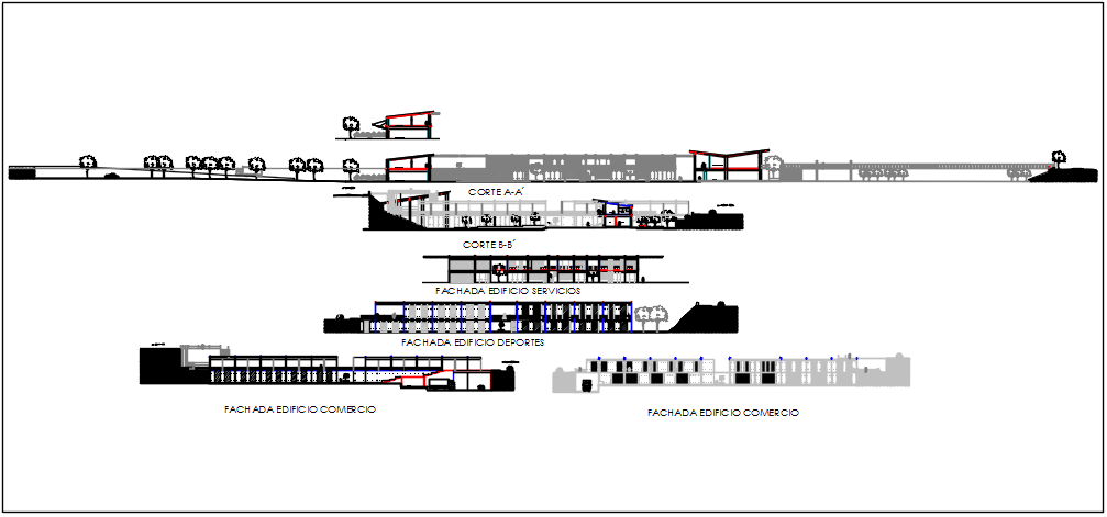 Elevation detail of the ground floor and 1st floor commercial building plan detail dwg file