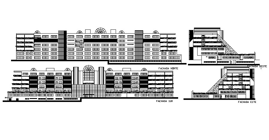 Elevation drawing of Building in AutoCAD