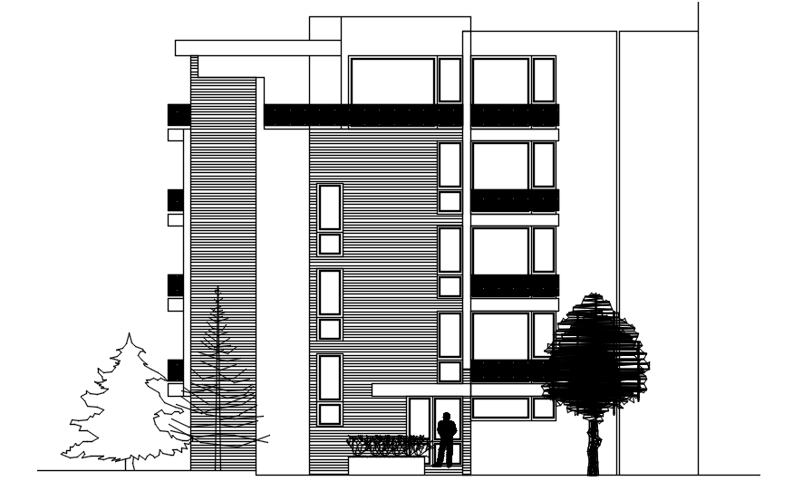 Elevation drawing of apartment design in dwg file - Cadbull