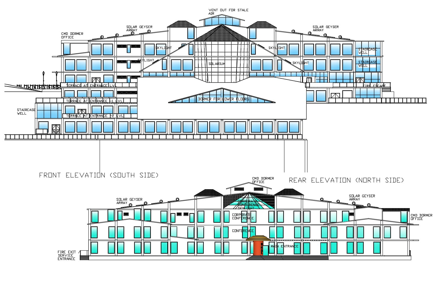 Elevation drawing of building design in dwg file