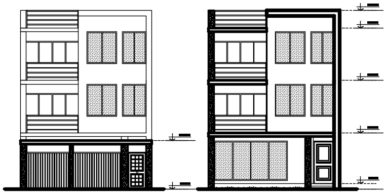 Elevation drawing of residential house in dwg file