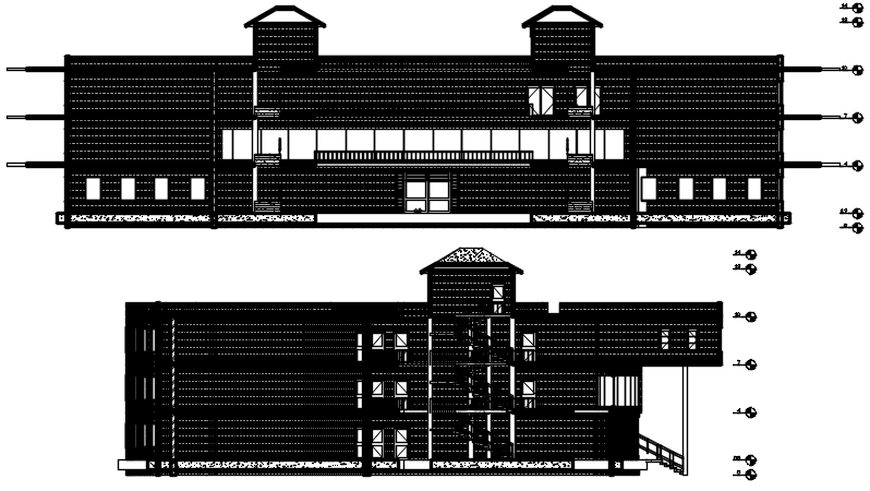 Elevation drawing of the institute in AutoCAD