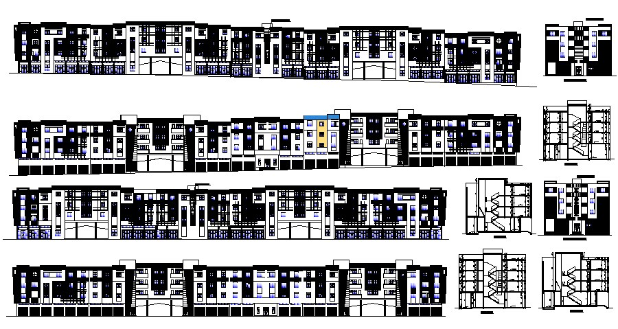 Elevation drawing of the multistorey building with detail dimension in dwg file