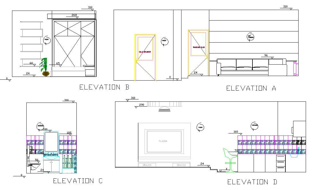 Elevation home plan dwg file