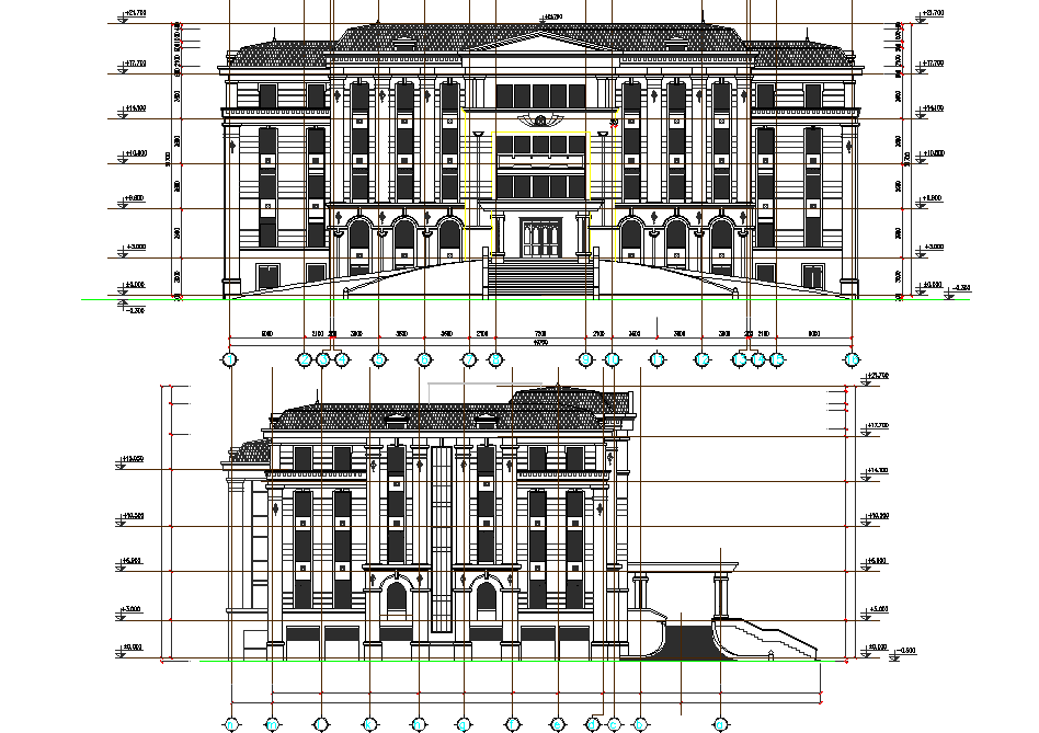 Elevation hotel detail dwg file