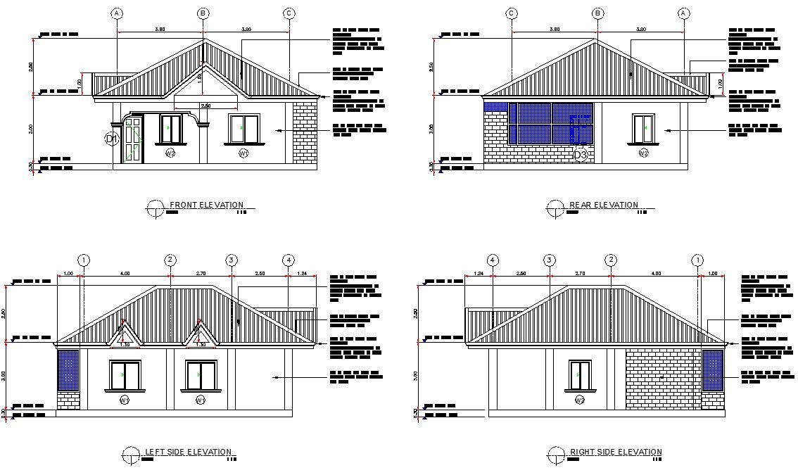 Elevation house plan detail autocad file